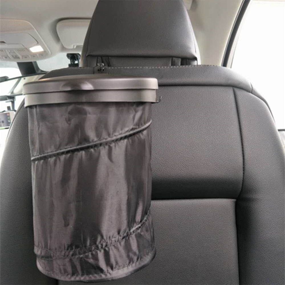 ELZO Car Trash Can with Lid and 3 Storage Pockets Waterproof Foldable Oxford Cloth Automotive Garbage Bin Black for Travel and Camping