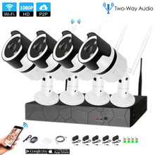 4CH two way audio talk HD Wireless NVR Kit P2P1080P Indoor Outdoor IR Night Vision Security 2.0MP IP Camera WIFI CCTV System