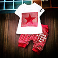 2017 New boys girls summer clothing sets Children T-shirt+plaid pant 2pcs/set five-pointed stars clothes sets
