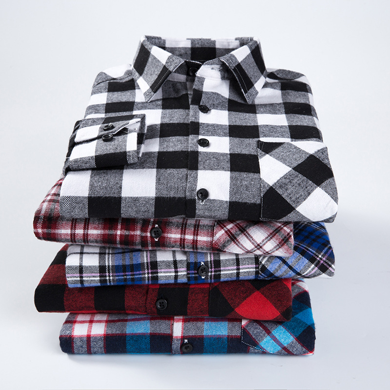 Checkered Men Shirt 2019 Spring Autumn New Long Sleeve Flannel Plaid Sh