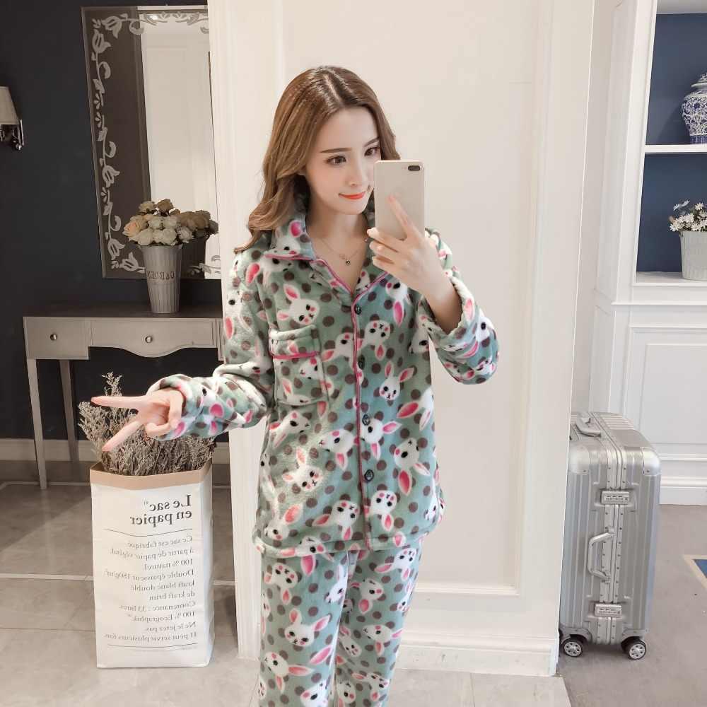f19fe0c5d1 Women s Pajama Set Coral Velvet Thick Warm Two-piece Suits 2018 Autumn  Female Sleepwear Cute