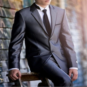 Notched Lapel Grey Groom Men Suit Tuxedos Fashion Men's Wedding Prom Clothing Business Mens Suits (Coat+Pant+Tie)