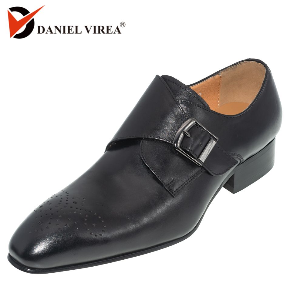 Men Dress Shoe Genuine Leather Brogue Black Color Buckle Strap Pointed Toe Brand Luxury Fashion Mens