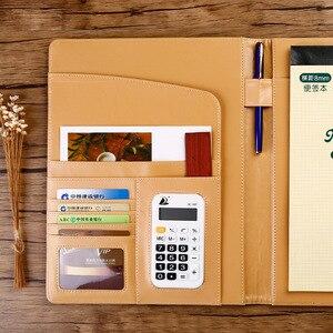 Image 4 - A4 Padfolio רב תכליתי עסקי תיקיית עבור מסמך Pu קובץ מנהל מחזיק משרד ארגונית עם מחשבון לא קלסר פאוץ