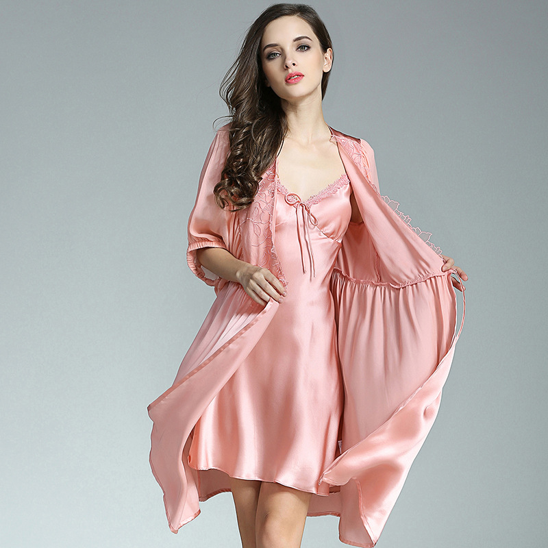 P9931 Wholesale female Summer Two Suit Luxury Sexy Clothing 100% Silk Pajamas Nightdress Nightgown image