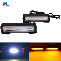 YM E Bright 2 PCS Daytime Running Lights COB 2 18W 36W Strobe Lights 6 Modes