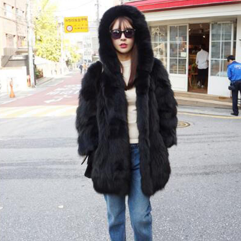 Natural Fur Plus Size Parka Real Fur Coat For Women Raccoon Fur Coat Hood Jacket Tbsr597