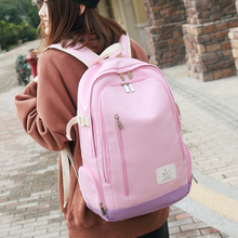 Canvas backpack Korean female campus bag high school college wind solid color