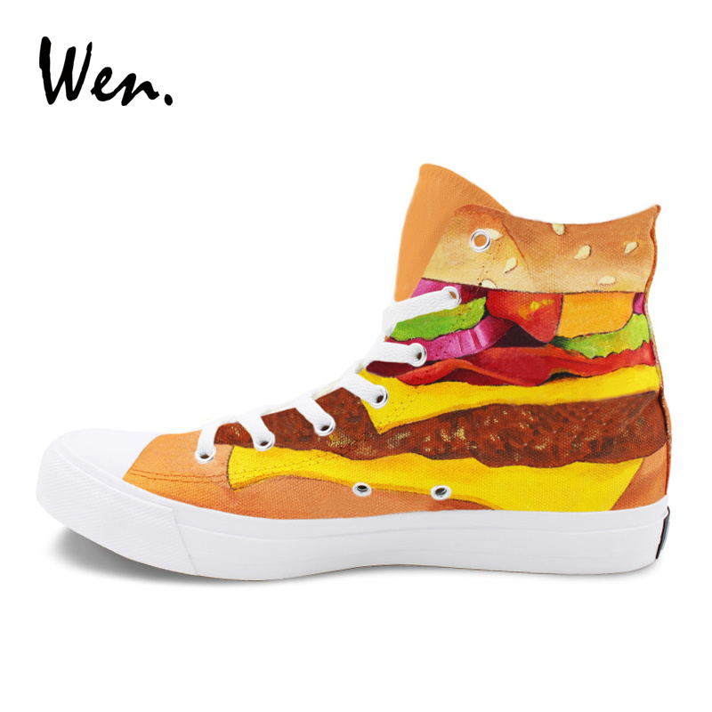 Womens Action Shoes Food Hamburger Pattern Shoe Lace Up