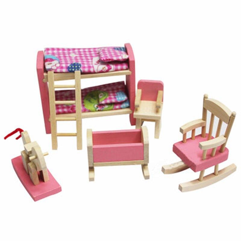 Kayu Miniatur Dollhouse Furniture Toys Set Dinner R Mandi Ruang Tamu Tidur Dapur Pretend Play Toy Kualitas Tinggi Di Mainan Dari