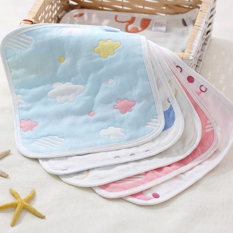 5pcs/lot Soft Baby Towel Cotton 6 Layers Muslin Kids Saliva Towel Boy Girl Baby Cartoon Square Handkerchief Infant Feeding Towel