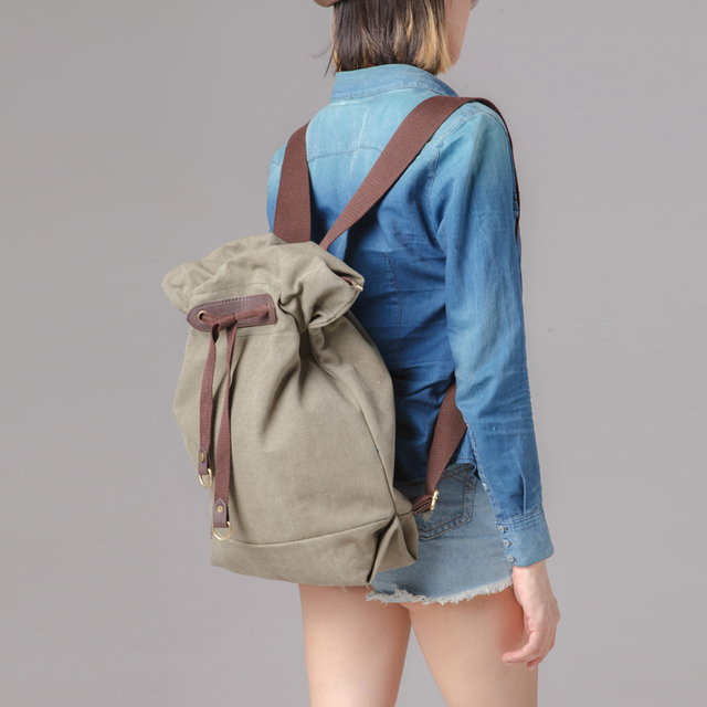 2019 New High Quality Vintage Fashion Casual Canvas Microfiber Leather Men Women Backpacks Shoulder Bags Classic B-036