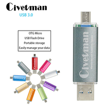 Civetman USB 3.0 Flash Drive Metal OTG For Android Phone High Speed USB Flash Drive 16GB 32GB 64GB 128GB Pen Drive Memory Stick 2 in1 metal otg usb 2 0 flash drive 32gb 64gb memory storage stick u disk for phone otg pen drive for computer mobile rose gold