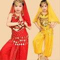 2016 дети танец живота 6 шт. (топ + брюки + пояс + head цепи + ручной цепи + вуаль) индийская одежда розовый/красный/желтый девушки танец живота костюм