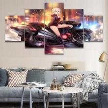 5 פנל חרב אנימה גורל גרנד סדר על בד הדפס מודרני חדר שינה בעיצוב בית דקור וול ארט תמונות יצירות אמנות פוסטר