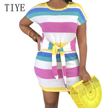 TIYE Explosion Models Womens Cute Casual Rainbow Striped Cotton Dress Fashion O-neck Short Sleeve Tie Up Vintage Mini