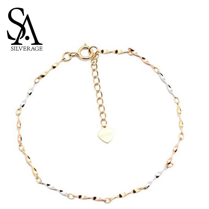 SA SILVERAGE18K Yellow Gold Chain Link Bracelets Bangles for Women Water Ripple Charm Bracelet Fine Jewelry