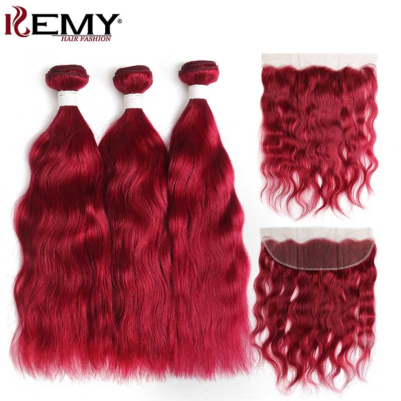 99J Burgundy Red Color Natural Wave Human Hair Bundles With Frontal 13 4 KEMY HAIR Brazilian