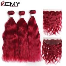 99J/Burgundy Human Hair Bundles With Frontal 13x4 KEMY HAIR Brazilian Natural Wave Closure Non-Remy