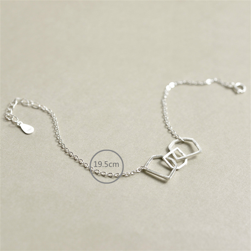 Flyleaf 925 Sterling Silver Geometric Shape Charm Bracelets For Women Simple Fashion Fine Jewelry Girl Bracelets Bangles in Bracelets Bangles from Jewelry Accessories