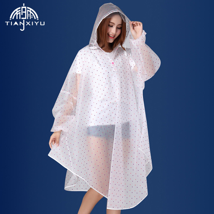 Portable EVA Transparent Woman Fashion Womens Waterproof Outdoor Outerwear Hooded Cover Rain Coat Knee Length Raincoat
