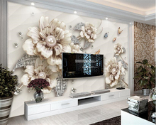 beibehang Interior three-dimensional exquisite luxury jewelry flowers TV background papel de parede wallpaper