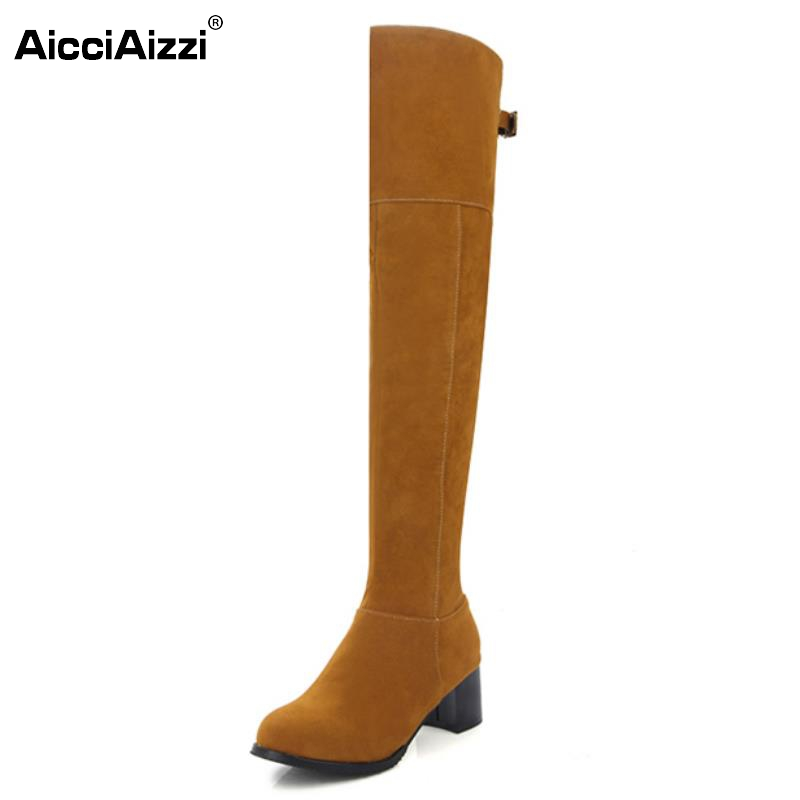 Women Square Heel Over Knee Boots Woman Fashion Round Toe Knight Boot Lady Autumn Winter Heels Shoes Footwear Size 34-43 fashion beige woman snow boots winter square heels round toe sexy pu winter shoes for lady high heels plus size 34 43