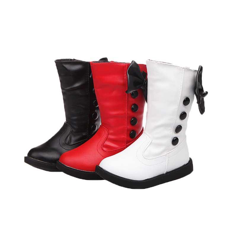 Hiver imperméable filles bottes Ski tissu chaud neige bottes enfants filles enfants arc chaussures filles en cuir coton bottes #20
