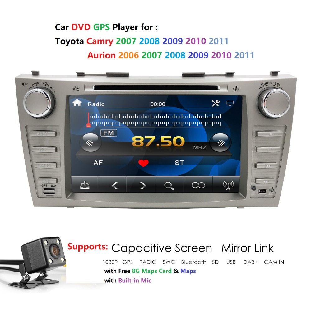 8 pouces 2Din lecteur DVD de voiture GPS Navigation Auto Radio pour Toyota Camry 2007 2008 2009 2010 2011 Aurion 2006 RDS AUX USB SWC BT CAM