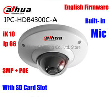 Dahua IPC-HDB4300C-A english firmware 3MP POE ip camera built-in MIC with sd Card slot replace IPC-HDB4300C dome camer