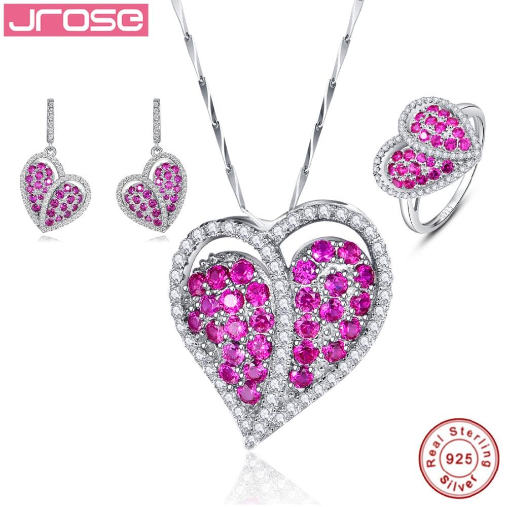 Jrose Heart Design Women Jewelry Set Engagement Wedding Red Jewelry 925 Sterling Silver Ring Pendant Earring