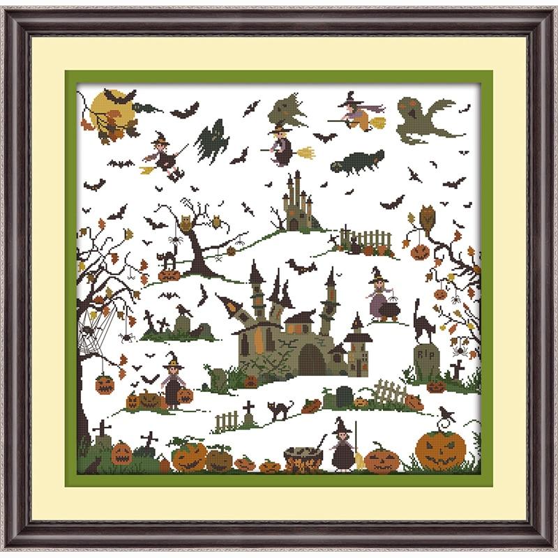 the witch castle halloween decoration cartoon counted cross stitch 14ct cross stitch chinese cross stitch kits
