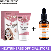 Neutriherbs Facial Face Mask Carbonated Bubble Clay Mask + Vitamin C Serum Hyaluronic Acid Retinol for Deep Cleansing