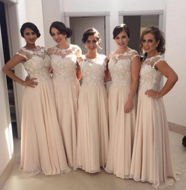 2018 Chiffon Short Sleeves A Line   Bridesmaid     Dresses   For Wedding Party Appliques Long Lady   Dress   Formal   Dress   Sheer M1837