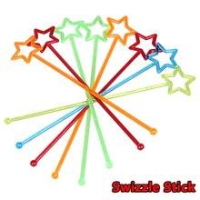 Новинка, 25 шт./лот, смешанные цвета, пластиковые, Звездный дизайн, мешалки для коктейлей, напитков, палочки, барные инструменты
