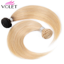 VIOLET Peruvian Straight 613 Blonde Hair Weave Bundles 100% Human 1PCS Honey Non-Remy Extensions
