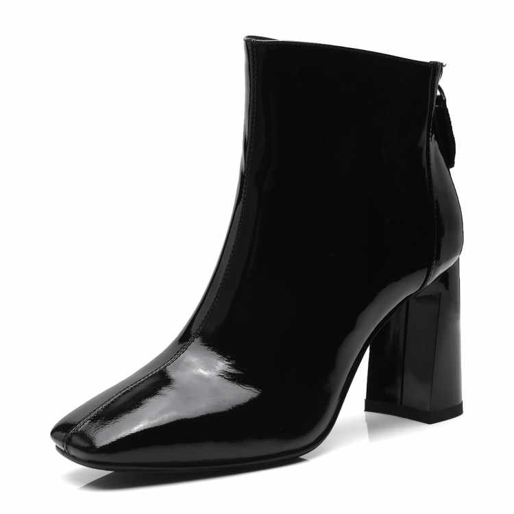 MLJUESE 2019 mujeres botas de media pantorrilla vaca cuero charol cremalleras color camel tacones altos botas de mujer botas Casuales