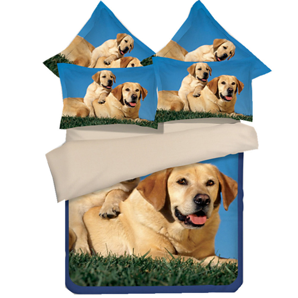 Custom Made Hipster 3Pcs Golden Retriever Bedding Set Duvet Cover Set Cute Dog Printed Bed Sheet Bed Linen Twin Queen King Size