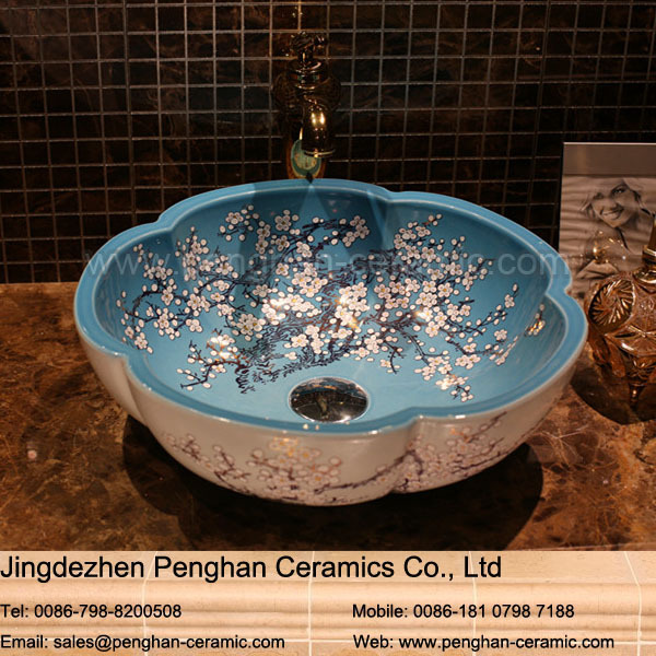 Chinese Factory Direct Famille Rose Hand Painted Kitchen Sink Bowl