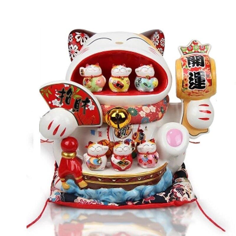 Creative 14 pouces en céramique chat chanceux surdimensionné tirelire ouverture Feng Shui ornements décor à la maison accessoires affaires artisanat cadeaux