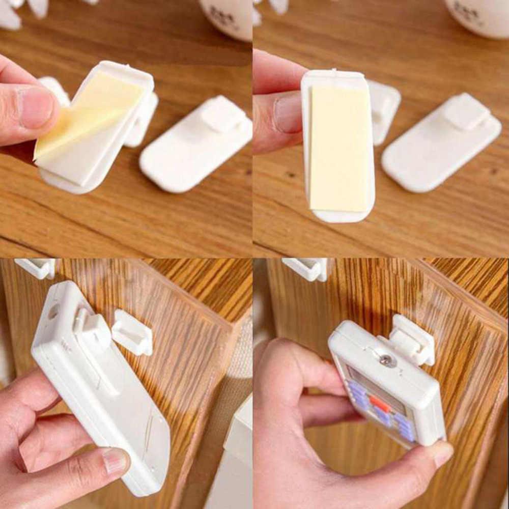 2 conjunto (4 pces) ganchos de plástico autoadesivo titular controle remoto pegajoso gancho gancho tv condicionador de ar chave de armazenamento de parede