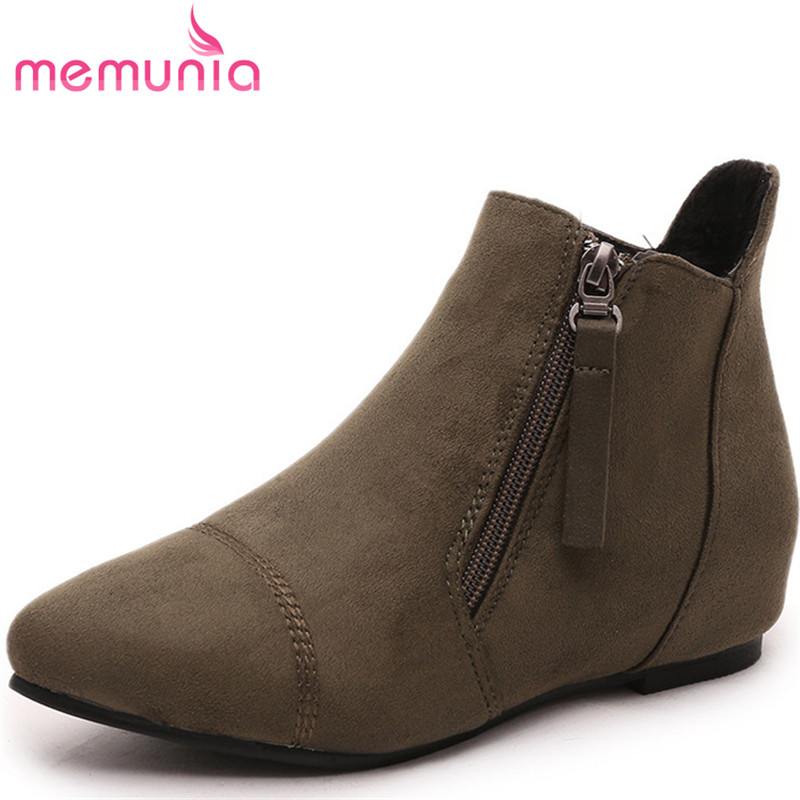 MEMUNIA Spring autumn new arrive ankle boots woman flock zipper women shoes height increasing boots fashion big size 34-44 memunia 2017 fashion flock spring autumn single shoes women flats shoes solid pointed toe college style big size 34 47