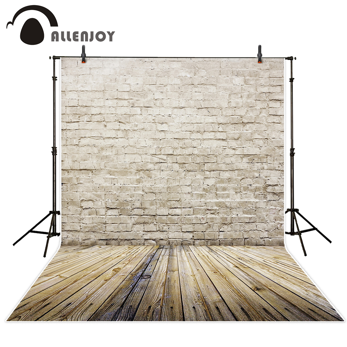 Allenjoy Brick wall Wood Gray distressed vintage Brick wall Photographic background vinyl photography backdrops photo studio 7x5ft vinyl photography background white brick wall for studio photo props photographic backdrops cloth 2 1mx1 5m