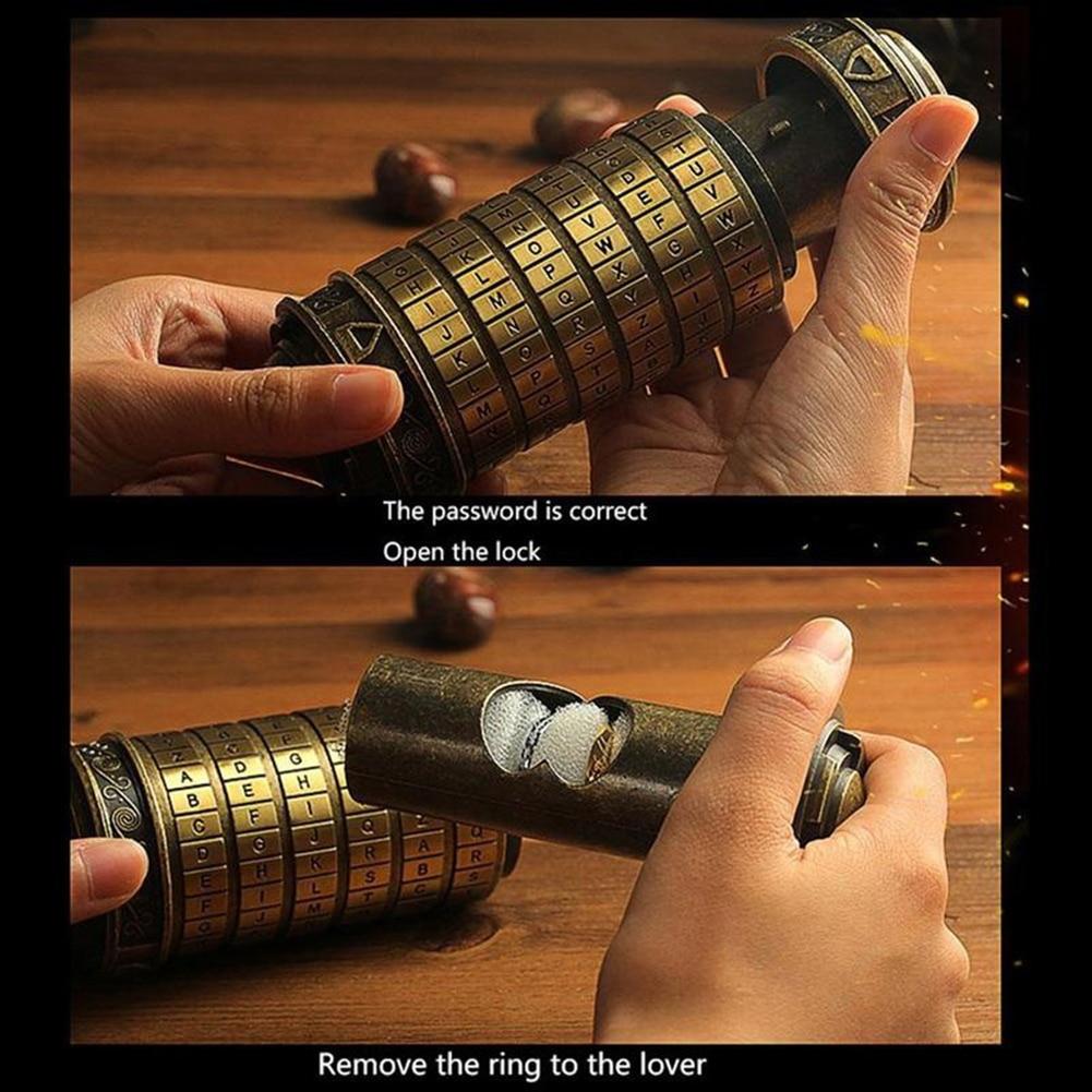 Mini cylindre Lockbox Da Vinci Code Alphabet serrure Cryptex Valentine coffrets cadeaux - 4
