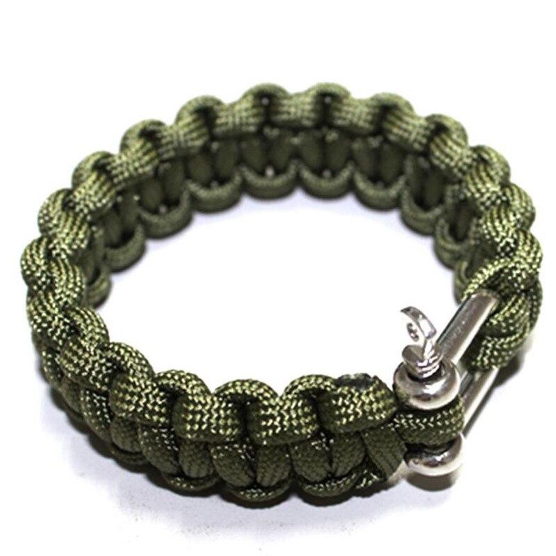 Outdoor Multifuctional Emergency Braided Bracelet U Style Buckle Rope Weaving Survival Bracelet Paracord Bracelets Camping Tool