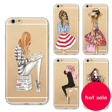For Apple iPhone 6 iphone 7 plus Phone Case Cover Fashion Dress Shopping Girl Transparent Soft Silicon Mobile Phone Bag