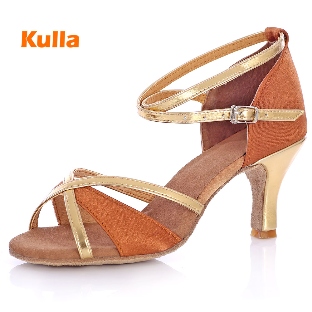 KULLA Hot Adult Latin Dance Shoes Woman Ballroom Tango Salsa Dancing Shoes For Ladies Black High-heeled Salsa Dance Shoes Girls