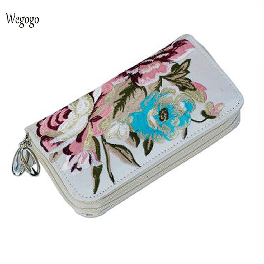 New Women Clutch Bag National Double-sided Floral Embroidery Purse Canvas Long Wallet Two Zipper Mobile Phone Beach Coin Bag free shipping top hot wholesale embroidered mobile mobile phone bag hand bag lady nation style embroidery canvas bag special