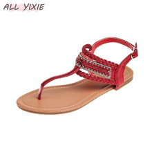 ALL YIXIE 2019 Summer New Fashion Womens Shoes Sandals Low Heel Buckle Casual Rhinestones Toe Bohemian Beach