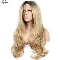 Сильвия натуральный ручной работы волос темно и смешивания блондинка цвет синтетические волосы на кружеве искусственные парики для вечерние